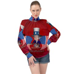 Happy 4th Of July High Neck Long Sleeve Chiffon Top by FantasyWorld7