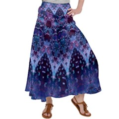 Blue Elegance Elaborate Fractal Fashion Satin Palazzo Pants by KirstenStar