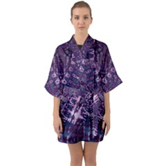 Purple Fractal Lace V Shape Quarter Sleeve Kimono Robe by KirstenStar