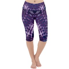 Purple Fractal Lace V Shape Lightweight Velour Cropped Yoga Leggings by KirstenStar