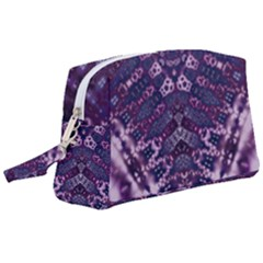 Purple Fractal Lace V Shape Wristlet Pouch Bag (large)