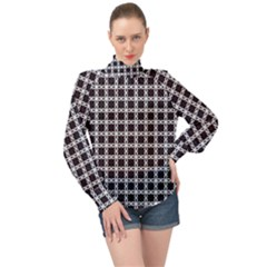 Purple Pattern Texture High Neck Long Sleeve Chiffon Top by HermanTelo