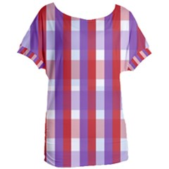 Gingham Pattern Line Women s Oversized Tee by HermanTelo