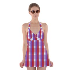 Gingham Pattern Line Halter Dress Swimsuit
