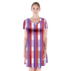 Gingham Pattern Line Short Sleeve V Neck Flare Dress by HermanTelo