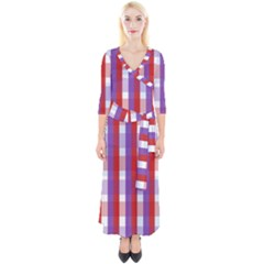 Gingham Pattern Line Quarter Sleeve Wrap Maxi Dress by HermanTelo