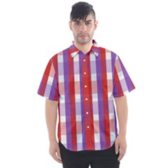 Gingham Pattern Line Men s Short Sleeve Shirt