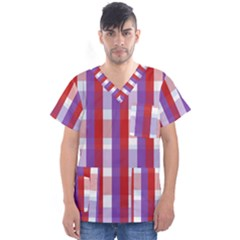 Gingham Pattern Line Men s V-neck Scrub Top