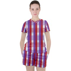 Gingham Pattern Line Women s Tee And Shorts Set