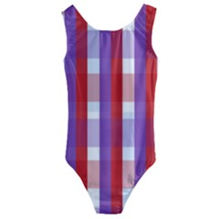 Gingham Pattern Line Kids  Cut Out Back One Piece Swimsuit