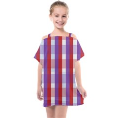 Gingham Pattern Line Kids  One Piece Chiffon Dress by HermanTelo