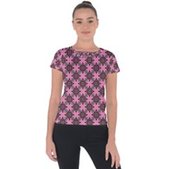 Purple Pattern Texture Short Sleeve Sports Top