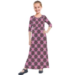 Purple Pattern Texture Kids  Quarter Sleeve Maxi Dress
