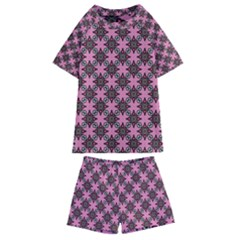 Purple Pattern Texture Kids  Swim Tee And Shorts Set by HermanTelo