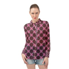 Purple Pattern Texture Long Sleeve Chiffon Shirt by HermanTelo