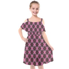 Purple Pattern Texture Kids  Cut Out Shoulders Chiffon Dress by HermanTelo