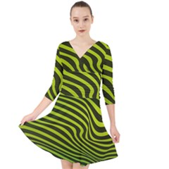 Wave Green Quarter Sleeve Front Wrap Dress