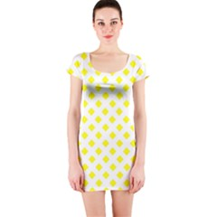 Yellow White Short Sleeve Bodycon Dress