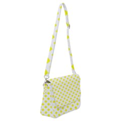 Yellow White Shoulder Bag With Back Zipper by HermanTelo