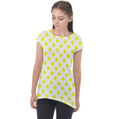 Yellow White Cap Sleeve High Low Top