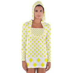 Yellow White Long Sleeve Hooded T-shirt