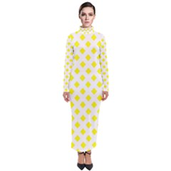 Yellow White Turtleneck Maxi Dress