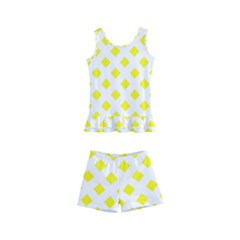 Yellow White Kids  Boyleg Swimsuit