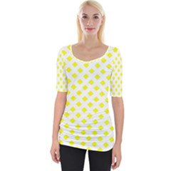 Yellow White Wide Neckline Tee by HermanTelo