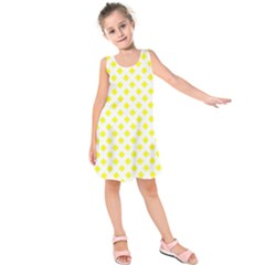 Yellow White Kids  Sleeveless Dress