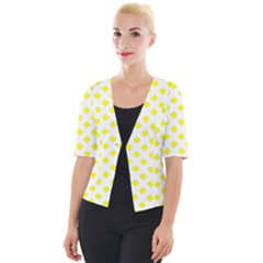 Yellow White Cropped Button Cardigan