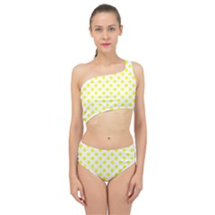 Yellow White Spliced Up Two Piece Swimsuit