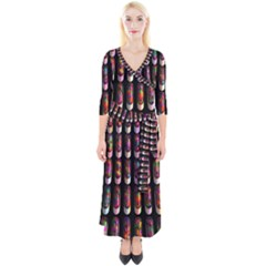 Texture Abstract Quarter Sleeve Wrap Maxi Dress by HermanTelo