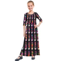 Texture Abstract Kids  Quarter Sleeve Maxi Dress by HermanTelo