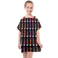 Texture Abstract Kids  One Piece Chiffon Dress