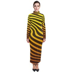 Wave Line Curve Abstract Turtleneck Maxi Dress by HermanTelo