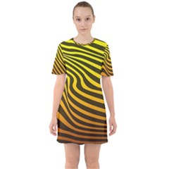 Wave Line Curve Abstract Sixties Short Sleeve Mini Dress