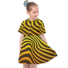 Wave Line Curve Abstract Kids  Sailor Dress by HermanTelo