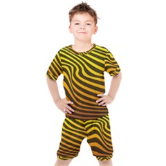 Wave Line Curve Abstract Kids  Tee And Shorts Set by HermanTelo
