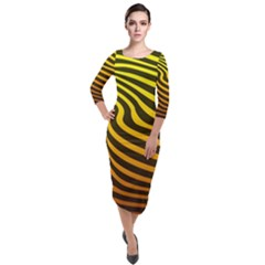 Wave Line Curve Abstract Quarter Sleeve Midi Velour Bodycon Dress by HermanTelo