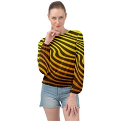 Wave Line Curve Abstract Banded Bottom Chiffon Top by HermanTelo