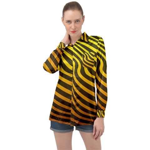 Wave Line Curve Abstract Long Sleeve Satin Shirt by HermanTelo