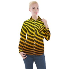 Wave Line Curve Abstract Women s Long Sleeve Pocket Shirt by HermanTelo