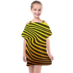 Wave Line Curve Abstract Kids  One Piece Chiffon Dress by HermanTelo
