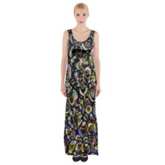 Circle Plasma Artistically Abstract Maxi Thigh Split Dress by Bajindul