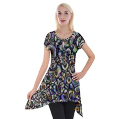 Circle Plasma Artistically Abstract Short Sleeve Side Drop Tunic