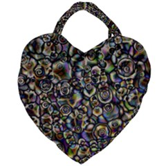 Circle Plasma Artistically Abstract Giant Heart Shaped Tote by Bajindul