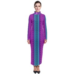 Fabric Pattern Color Structure Turtleneck Maxi Dress