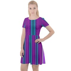 Fabric Pattern Color Structure Cap Sleeve Velour Dress