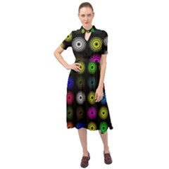 Flowers Arrangement Symmetry Keyhole Neckline Chiffon Dress