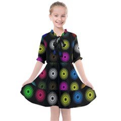 Flowers Arrangement Symmetry Kids  All Frills Chiffon Dress by Bajindul
